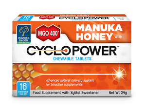 Tabletki do Ssania CycloPower™ z Ksylitolem i Miodem Manuka MGO™ 400+ (24 g).